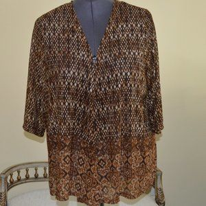 NWT Catherines 3X Brown Cardigan Top 3/4 Sleeve